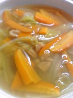 白菜と貝柱のしょうがスープ